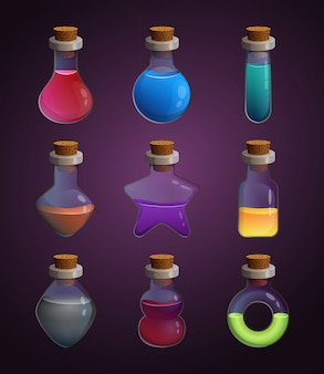 Glass bottles at different shapes with various liquid poison