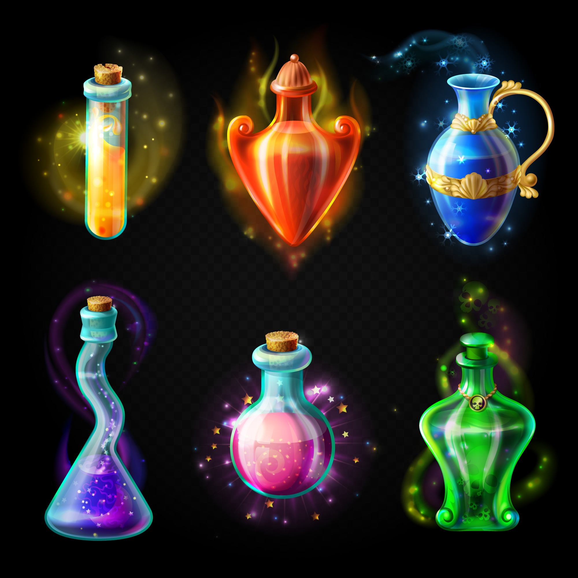 Glass bottles with a magical potion