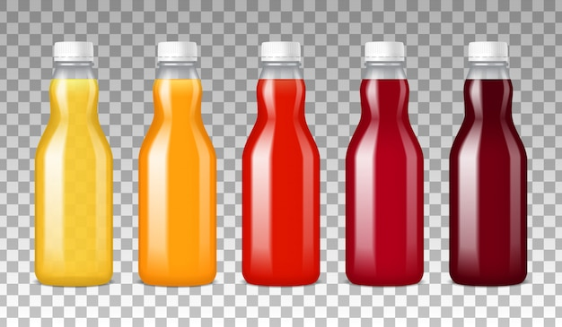 Glass bottles with juice