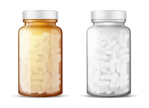Glass bottles with pills realistic