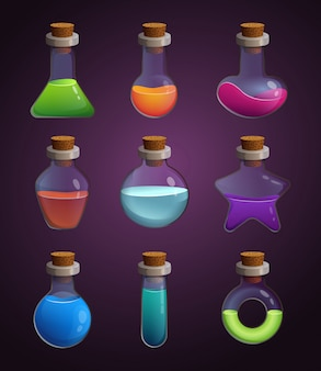 Glass bottles with various liquids. pictures in cartoon style