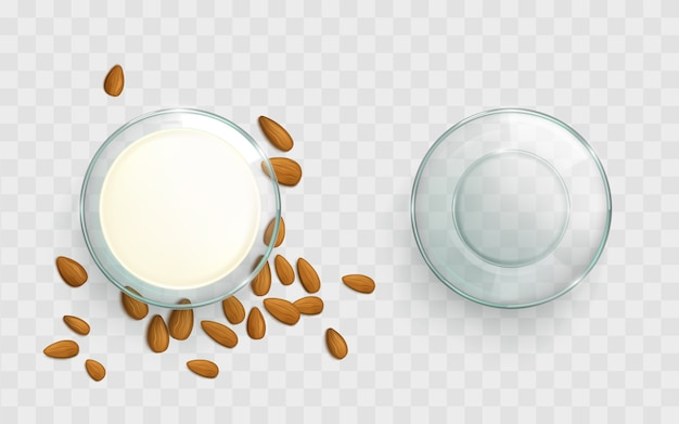Glass bowl with almond milk realistic vector