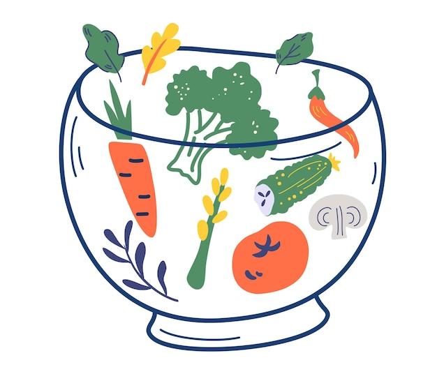 野菜とガラスのボウル。様々なサラダの材料。トマト、きゅうり、きのこ、ブロッコリー、サラダ、にんじん、唐辛子。健康食品メニューのコンセプト。ベジタリアン、デトックス、オーガニック、自然。ベクター