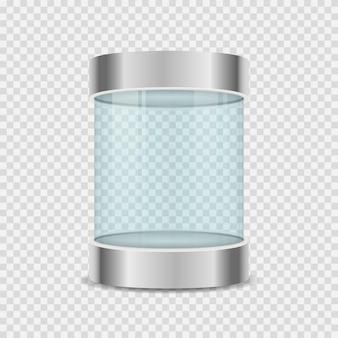투명 배경에 유리 상자 실린더