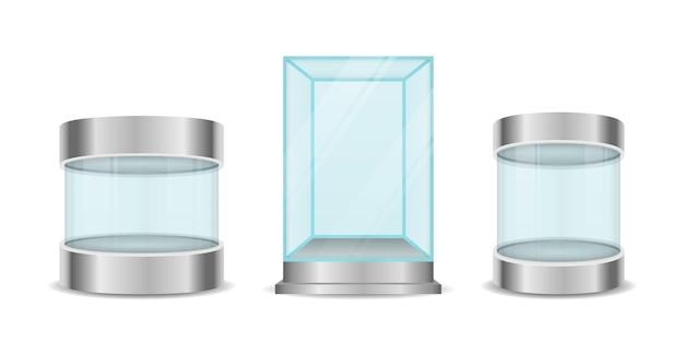 유리 상자 실린더. 투명한 크리스탈 큐브와 실린더 빈 진열장. 받침대가있는 전시를위한 둥근 빈 유리 쇼케이스.