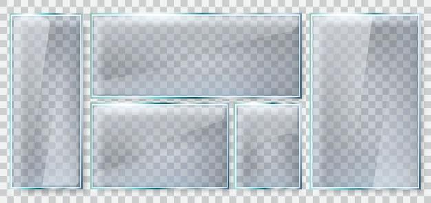 유리 밝기 프레임. 현실적인 유리 접시, 반사 유리 창, 투명 유리 사각형 프레임 그림을 설정합니다. 광택 판 투명, 광택 프레임, 플라스틱 유리