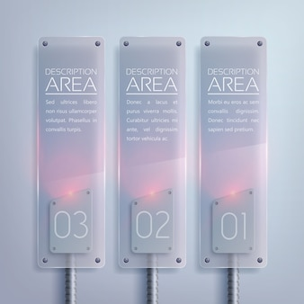 Стеклянная бизнес-вертикальная инфографика с электрической подсветкой текста и тремя вариантами