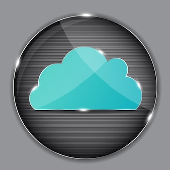 Glass button with cloud icon