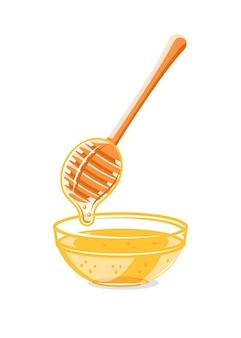 흰색 배경에 분리된 꿀 방울이 있는 유리 용량 및 숟가락