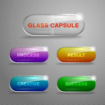 Glass capsule buttons.