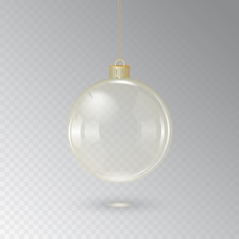 Стеклянный елочный шар с золотым шнуром на прозрачном фоне. иллюстрация