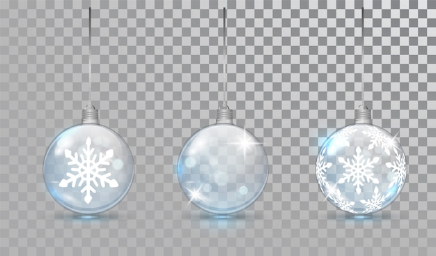Glass christmas balls set with snowflake pattern.