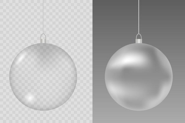 透明な背景にガラスのクリスマスのおもちゃ。クリスマスのガラス玉。ストッキング要素の装飾。