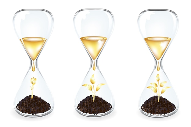 Glass clocks with golden sprouts with gradient mesh, isolated