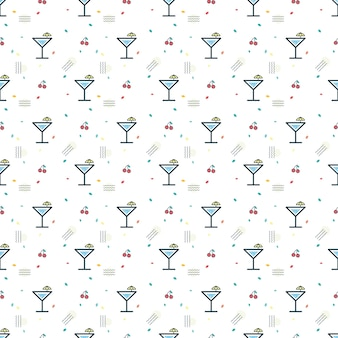 Glass of cocktail and cherry seamless pattern