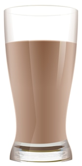 Glass of cocoa with milk. chocolate milkshake. isolated on white