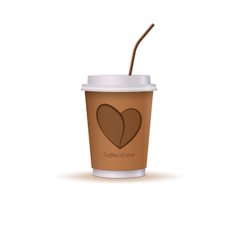 Glass of coffee with a heart and a drinking straw.