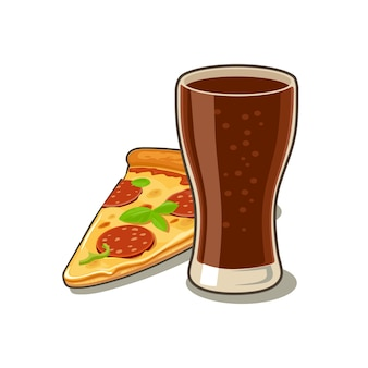 Glass of cola and slices of pizza pepperoni engraving illustration