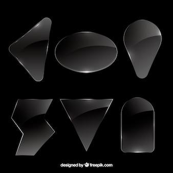 異なる形状のガラスコレクション