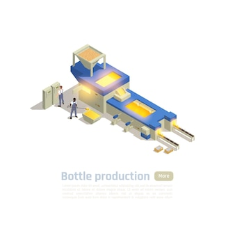 Операторы автоматизированной производственной линии горячего конца завода стеклотары изометрическая композиция с серийной обработкой печи