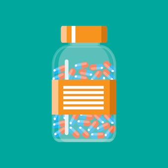Glass container with medical pills capsules