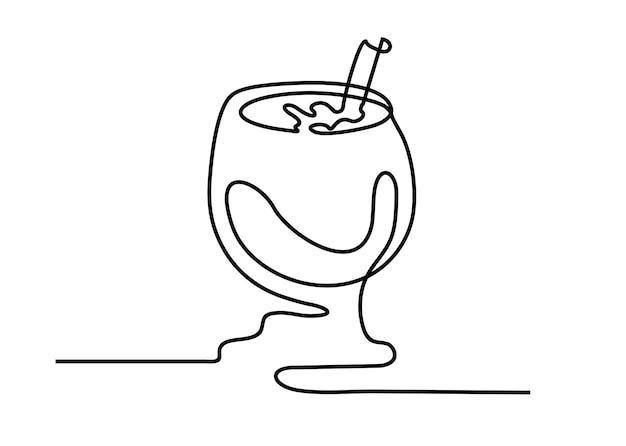 ガラス連続線ロゴとポスターの手描きカクテルグラススケッチミニマリストデザインベクトル