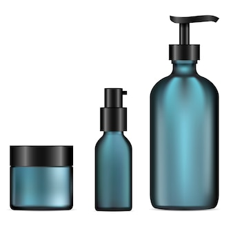 Glass cosmetic bottle. pump dispenser, cream jar