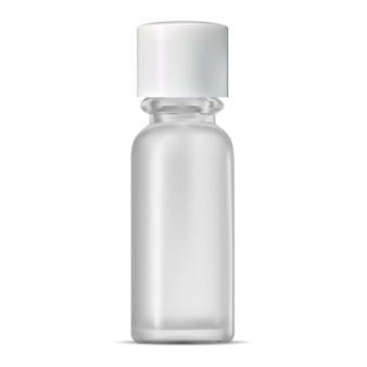 Glass cosmetic bottle. realistic transparent jar.