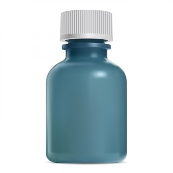 Glass cosmetic bottle with white screw lid. jar