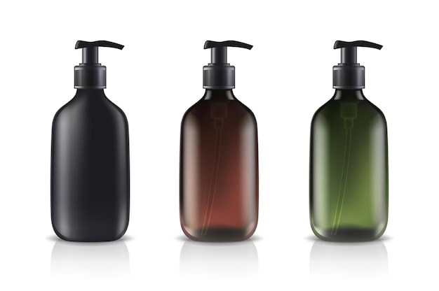 Glass cosmetic bottles in different colors