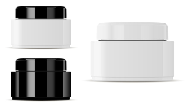 Glass cosmetic jar mockup. round vector container.