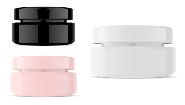 Glass cosmetic jar vector. round vector container.