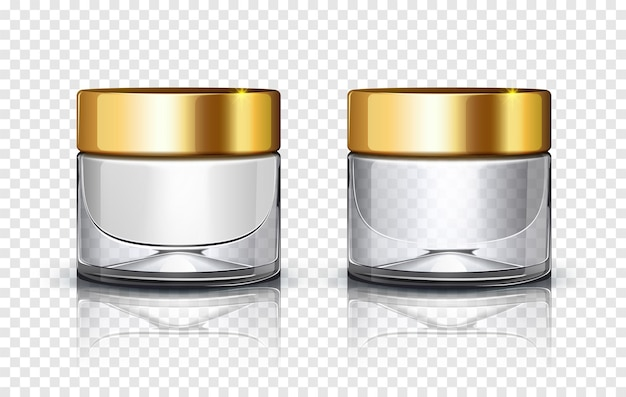 Glass cosmetic jar with golden lid isolated on transparent background.