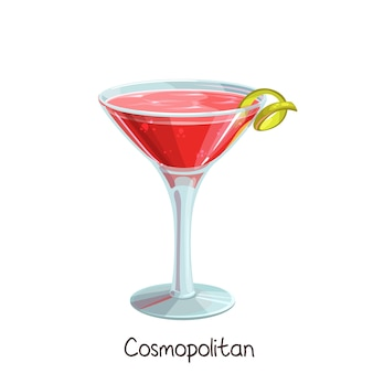 Glass of cosmopolitan cocktail with lime slice  on white. color illustration summer alcohol drink.
