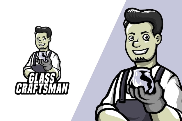 ガラス職人-マスコットロゴテンプレート