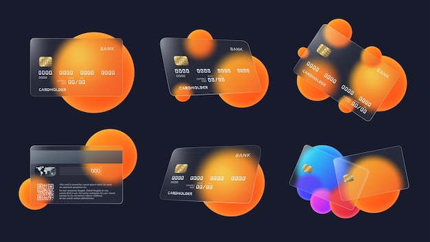 Glass credit card with abstract circles and soft matte