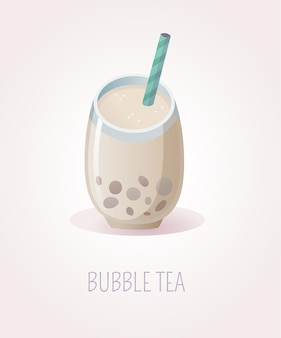 Glass cup of bubble tea with boba and striped straw