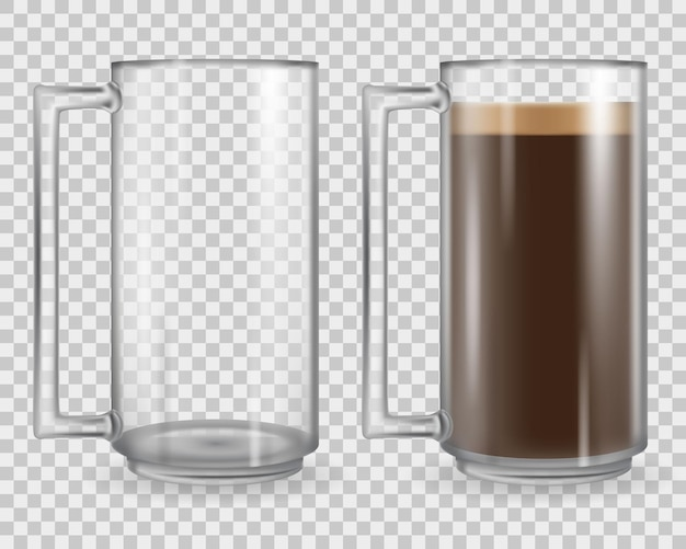 Glass cup isolated on transparent background. mug full with coffee and empty.  realistic