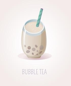 Стеклянная чашка пузырькового чая с бобой и полосатой соломкой