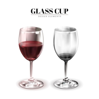 Glass cup, one contains wine the other don't