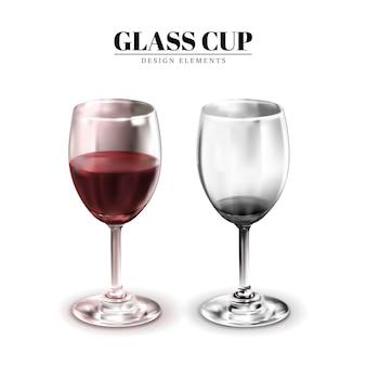 유리 컵, 하나는 와인을 포함하고 다른 하나는 포함하지 않습니다.