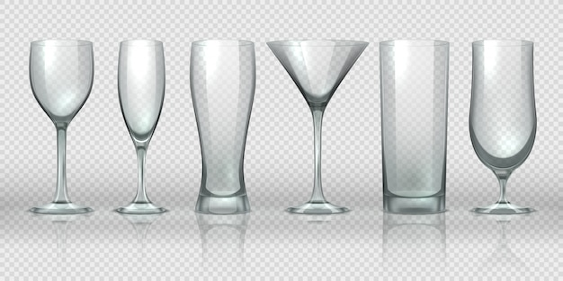 Glass cups. empty transparent glasses and goblet mockups, realistic 3d bear pint and cocktail glassware.