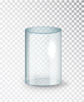 유리 실린더. 투명 한 배경에 고립 된 빈 투명 유리 실린더입니다. 투명 디스플레이 상자를 전시하십시오. 현실적인 벡터입니다.