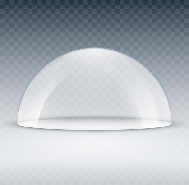 Макет контейнера стеклянный купол. пластиковая крышка модели купола для выставки изолирована. пустой вектор прозрачный купол.