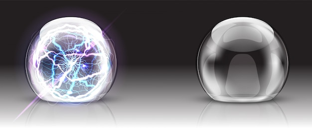 Glass dome, electric ball or sphere realistic