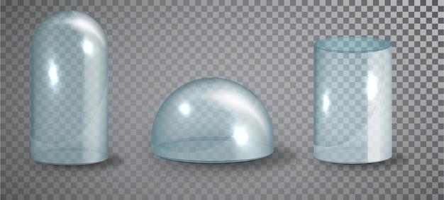 透明な背景に分離されたガラスのドームセット。リアルな3d詳細ガラス形状。ベクトルイラスト。