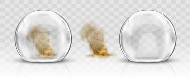 Glass dome or sphere and sandstorm realistic