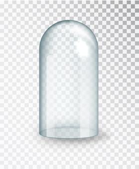 Cupola in vetro.copertura in vetro trasparente. cupola vuota verticale isolata su sfondo trasparente.