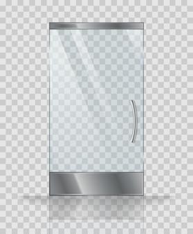Glass door of modern building or shop. vector illustration.