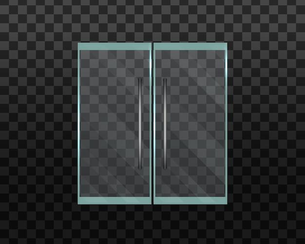 Стеклянная дверь офиса или торгового центра, изолированные на прозрачном фоне. двойные стеклянные двери.